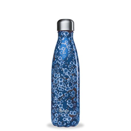 Bouteille isotherme inox 500ml Flowers Bleu Qwetch